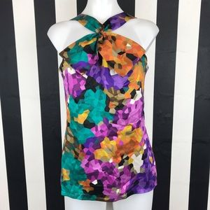 Trina Turk Watercolor Pixelated Halter Bow Top